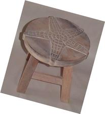 Starfish Hand Carved Wooden Foot Stool