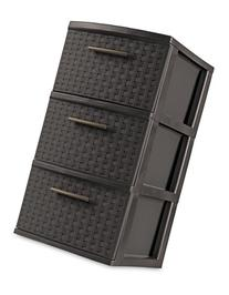 Sterilite 26306P02 3 Drawer Weave Tower, Espresso Frame &