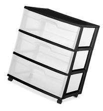 Sterilite 29309001 Wide 3 Drawer Cart, Black Frame with