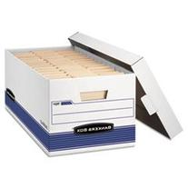* Stor/File Storage Box, Letter, Locking Lid, White/Blue, 4/