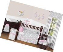 Sweet Jojo Designs 9-Piece Pink, Gray and White Elizabeth