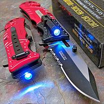 TAC-FORCE Red FIRE FIGHTER Spring Assisted Open LED Tactical
