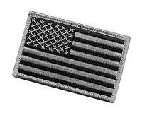 Tactical Black and Gray US Flag Patch with Hook/Loop Backing