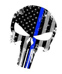 Tattered 5x4 Inch Subdued Us Flag Punisher Skull Reflective