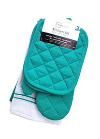 Teal Island Kitchen Towel Set 5 Piece- Pot Holders, Oven