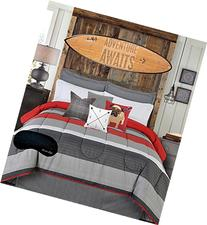 Teen Boys Bedding Modern Striped Rugby Gray Black Red QUEEN