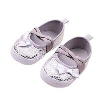 Toddler Prewalkers Sequin Bowknot Sneaker Baby Crib Shoes 12
