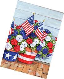 Toland Home Garden Patriotic Pansies 12.5 x 18 Inch
