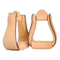 Tough-1 Wide Leather Covered Stirrups - Light Oil