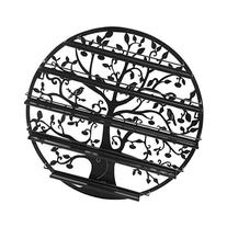 Tree Silhouette Black Round Metal Wall Mounted 5 Tier Salon