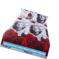 Ttmall Full Size 4-pieces 3d Gray White Marilyn Monroe Red