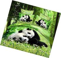 Two Lovely Panda 100% Cotton Queen Size 3d Print Bedding Set