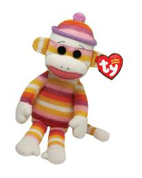 "Ty Beanie Babies Sock Monkey Pastel Stripes 8"" Plush"