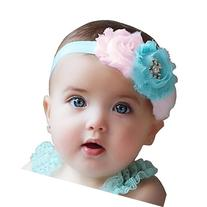 UCLL Cute Baby Headbands, Rose Flower with Diamond Ringstone