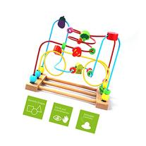 BATTOP Wooden Bead Roller Coaster First Bead Maze for Kids