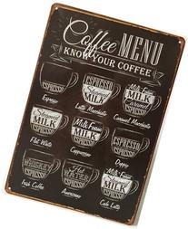 Uniquelover Coffee Menu Express Cafe Latte Retro Vintage Tin