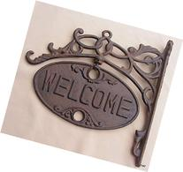 Upper Deck Welcome or Go Away Sign Ornate Cast Iron Front