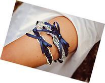 Vintage Ivory Lace & Navy Blue Satin Rhinestone Embellished
