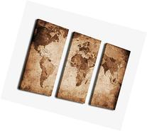 Canvas Wall Art Vintage World Map Painting Ready to Hang - 3