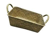Vintage Rectangle Seagrass Basket with Flat Surface Weaving