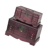 Vintiquewise Antique Old Wooden Trunk/Treasure Chest, Set of