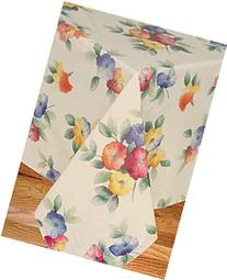 Water Flower Vinyl Tablecloth Flannel Backing, 60-Inch Round