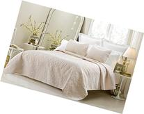 Oversized - 3 Piece 100% Cotton Quilted Coverlet Set - Ivory