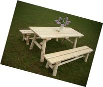 White Cedar Log Picnic Table with Detached Bench - 6 foot