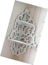 White Pastoral Hollow Wall Hanging Corner Shelf/Lattice
