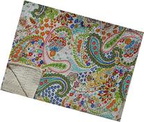 White Printed Paisley Kantha Quilt, Indian Cotton Bedspread