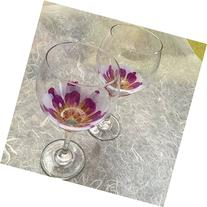 White/Purple Peony Wine Glasses--Set of 2 Hand Painted