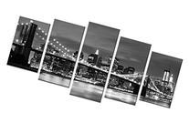 Wieco Art - Broooklyn Bridge Night View 5 Panels Modern