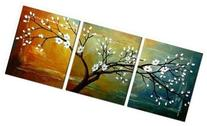"Wieco Art ""Full Blossom"" Hand-Painted Modern Framed Floral"