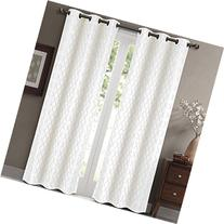 Willow Jacquard White Grommet Blackout Window Curtain Panels