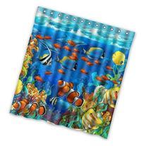 Winterby Custom Blue Ocean Tropical Fish Coral Undersea World Waterproof Fabric Bathroom Shower Curtain 66