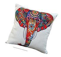 Wonder4 Colorful Elephant Sofa Pillow Case, White Cotton