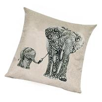 Wonder4 Mother Elephant Pillow Case, Linen Cotton Sofa