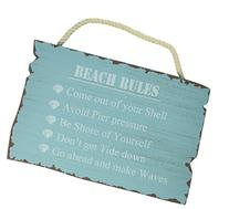 "Wooden ""Beach Rules"" Sign"