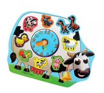 Wooden Clock Puzzle - Farm Animals