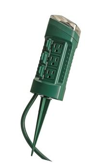 Woods 13547 6-Outlet Power Stake Timer with Light Sensor & 6