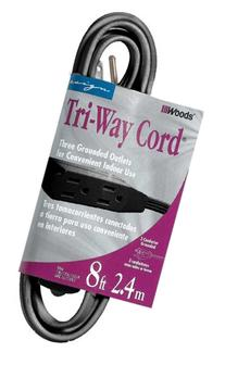 Woods 2611 3-Prong Household Extension Cord with 3-Outlets,