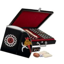 Chinese Mahjong  Travel Game Set with Jet Black Tiles, ""
