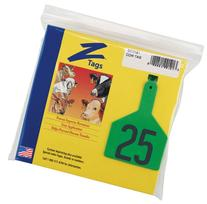 Z Tags 1-Piece Pre-Numbered Hot Stamp Tags for Cows, Numbers