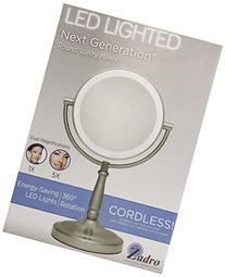 Zadro - LED Lighted 5X Vanity Mirror LEDV45 Satin Nickel