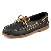 Sperry Top-Sider Women's A/O Black/Gold Piping Boat Shoe 11M