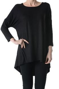 A.S Womens Rayon Jersey 3/4 Sleeve High low Tunic Top