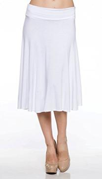 A.S Rayon Jersey Basic Fold Over Waist Knee Langth A-Line