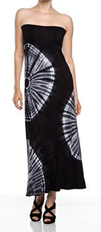 A.S 3 Circle Tie Dye Rayon Jersey A-Line Maxi Skirt-Black-