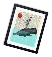 A Whale Of A Good Time - Upcycled Vintage Dictionary Art