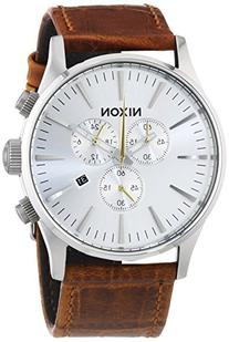 NIXON Men's 'Sentry' Quartz Stainless Steel and Leather